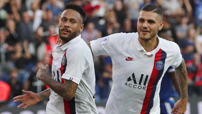 Pemain PSG, Mauro Icardi dan Neymar. (AP/Francois Mori)
