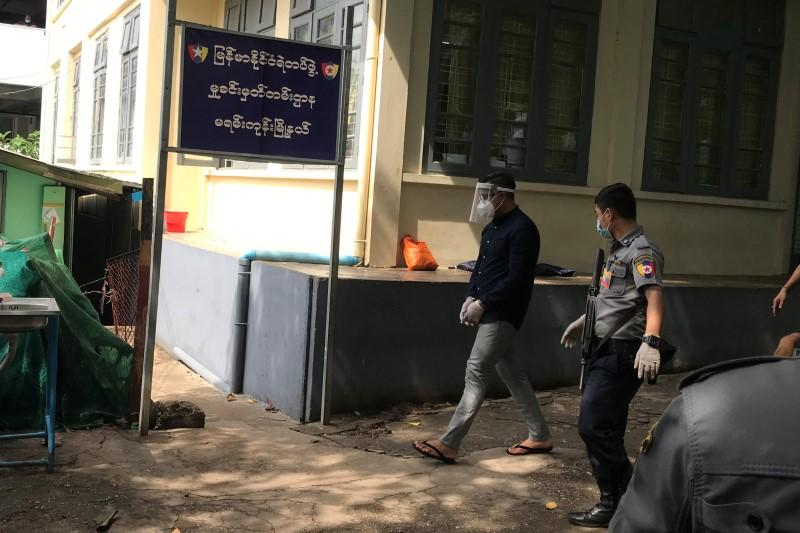 Burmese-Canadian preacher David Lah, who is accused of organising prayers in defiance of restrictions on gatherings imposed by the government during a lockdown due to coronavirus disease (COVID-19) outbreak, arrives at a court in Yangon,