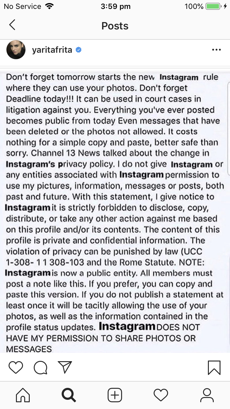 Yara Martinez posts Instagram's new rule to her page. Source: Instagram