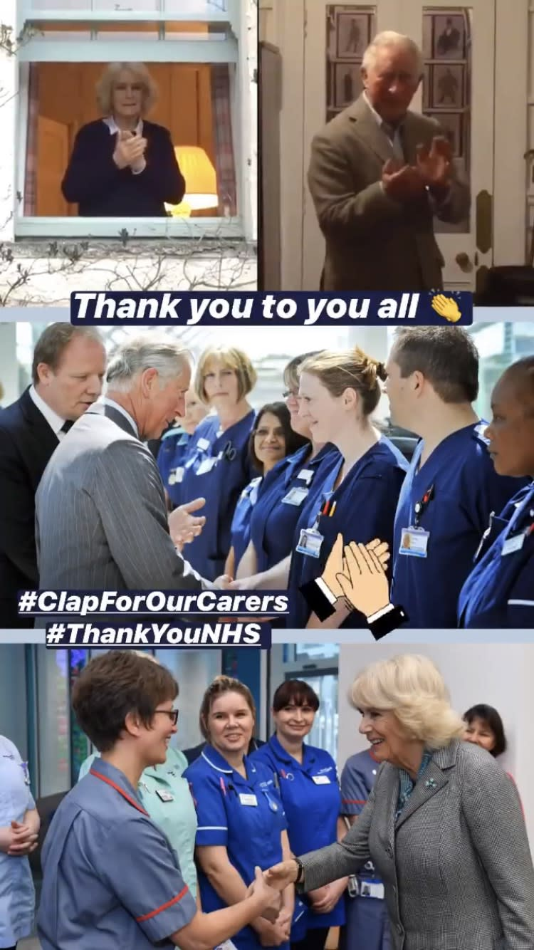 A screengrab from Clarence House instagram as the duke and duchess joined the clap for carers