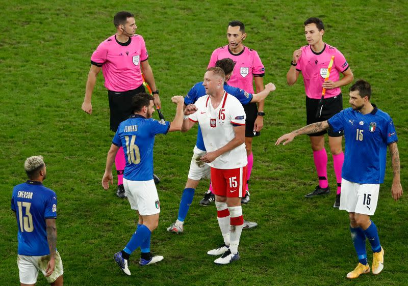Mancini fumes over pitch after Italy held by Poland