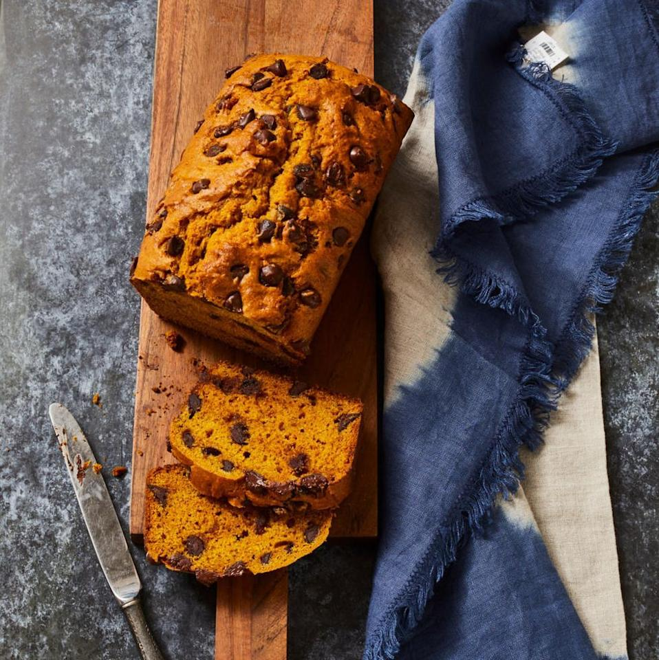 """<p>Grated fresh ginger stirred right into the batter makes this plush, moist pumpkin bread recipe extra special — and spicy! The warm, melty chocolate chips keep it sweet.</p><p><a href=""""https://www.goodhousekeeping.com/food-recipes/easy/a33406715/pumpkin-chocolate-chip-bread-recipe/"""" target=""""_blank""""></a><em><a href=""""https://www.goodhousekeeping.com/food-recipes/easy/a33406715/pumpkin-chocolate-chip-bread-recipe/"""" target=""""_blank"""">Get the recipe for Pumpkin Chocolate Chip Bread »</a></em></p>"""