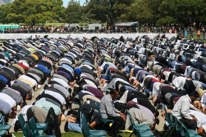 Hundreds of men kneel in prayer in Hagley Park, Christchurch.