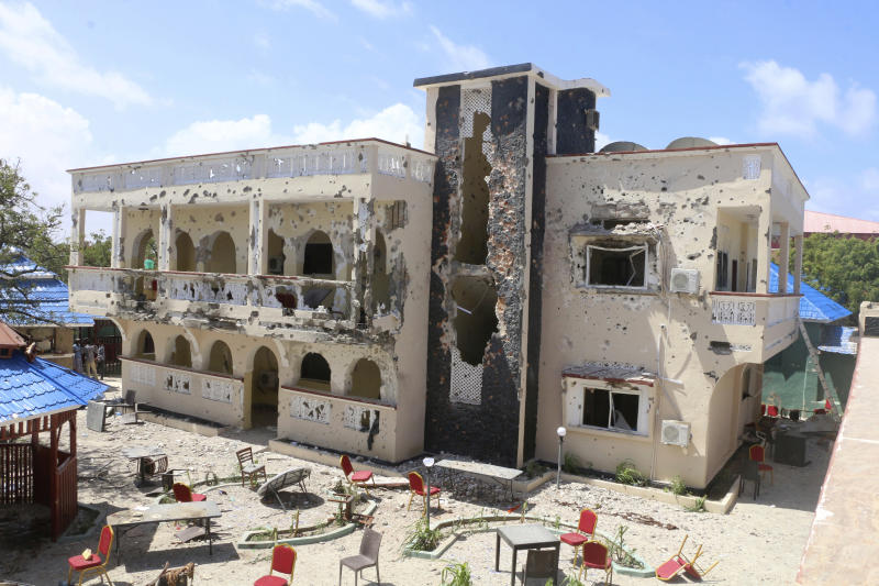 Asasey Hotel in Kismayo after the attack Saturday July 13, 2019. Somali forces Saturday morning ended an all-night siege on a hotel in the southern port city of Kismayo, in which the death toll has risen to 26 people, including a prominent Canadian-Somali journalist and several foreigners, officials say.(AP Photo)