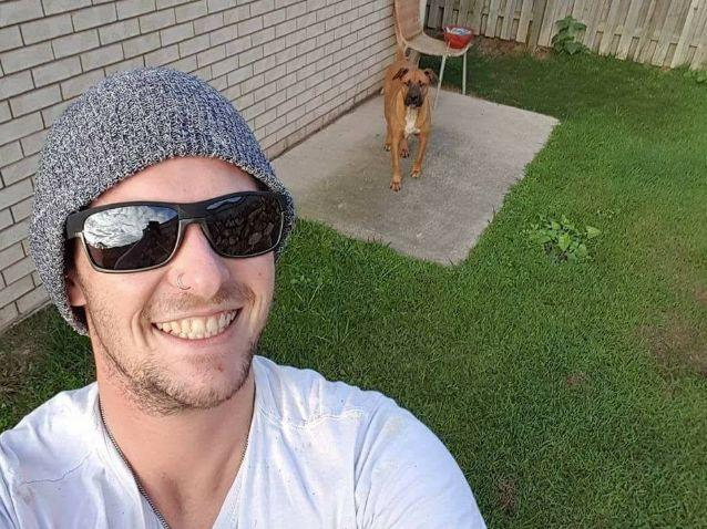 Luke McKoy pictured with his dog Major in a selfie photo.