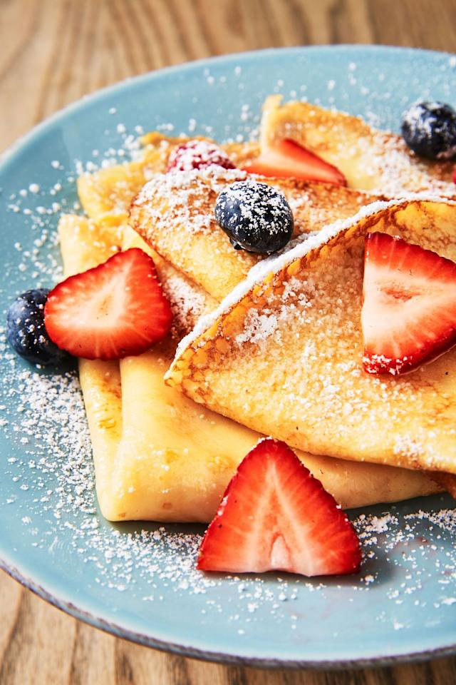 """<p>These are a light, versatile favorite that is sure to be a hit on Mother's Day.</p><p>Get the recipe from <a href=""""https://www.delish.com/cooking/recipe-ideas/recipes/a52114/easy-basic-crepe-recipe/"""" target=""""_blank"""">Delish.</a></p>"""