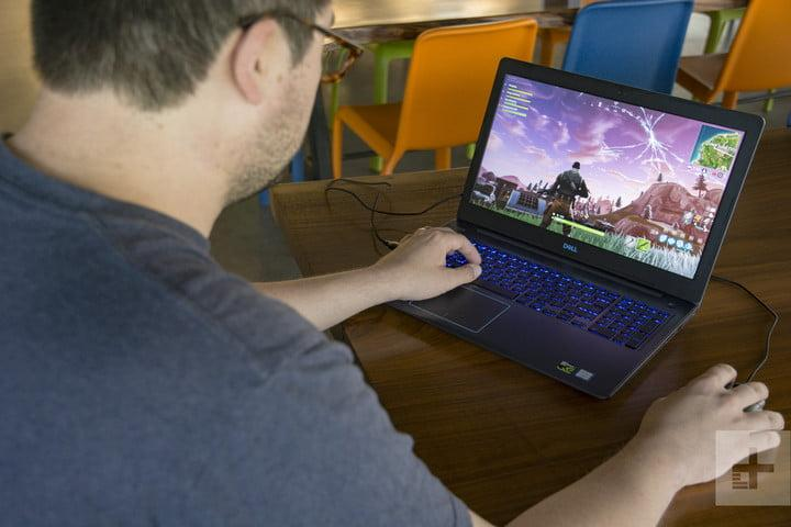 Playing Fortnite on a laptop