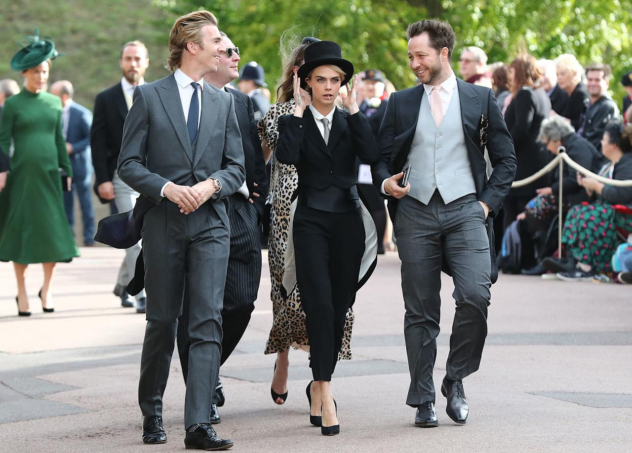 <p>She paired the suit with a killer pair of stiletto heels. Photo: Getty </p>