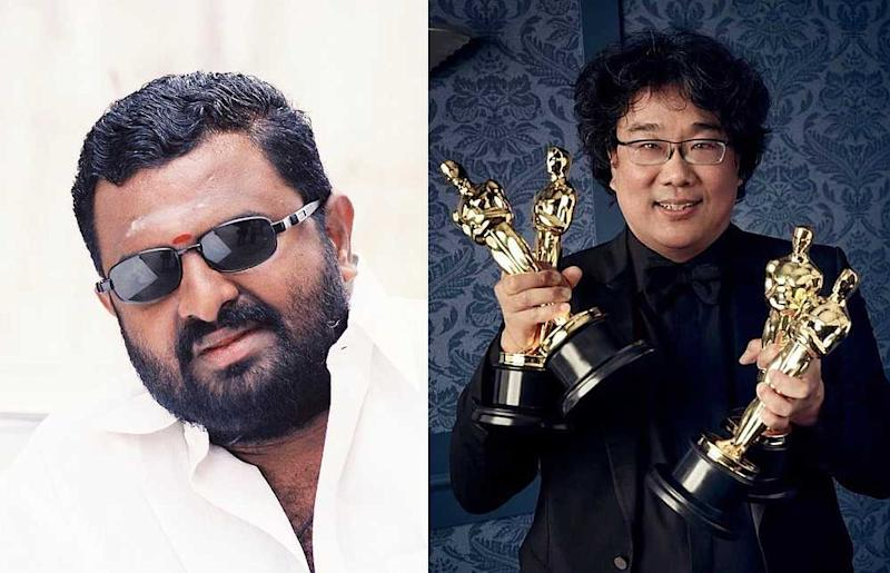 PL Thennapan (left) has accused 'Parasite' director and co-writer Bong Joon-Ho (right) of copying his 1999 film 'Minsara Kanna.' — Composite image from Facebook/thennapan.pl.94 and Instagram/neonrated