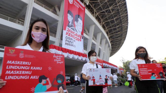 Sejumlah wanita saat mengkampanyekan Gerakan Masker Nasional