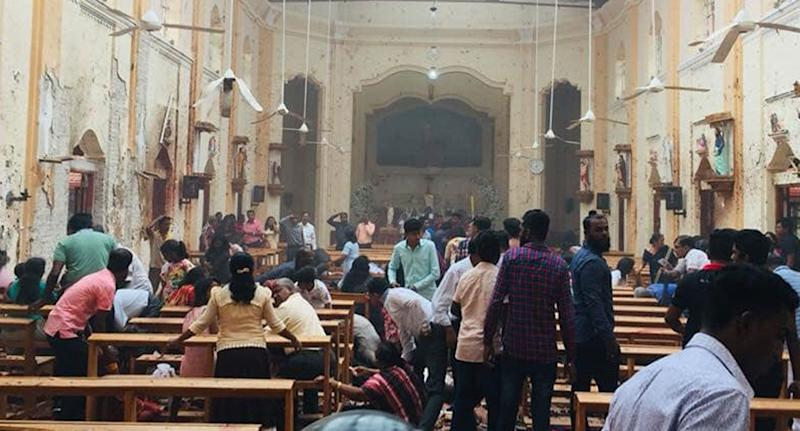 Inside St Sebastian's Church after the blast. Source: Facebook/ St Sebastian's Church