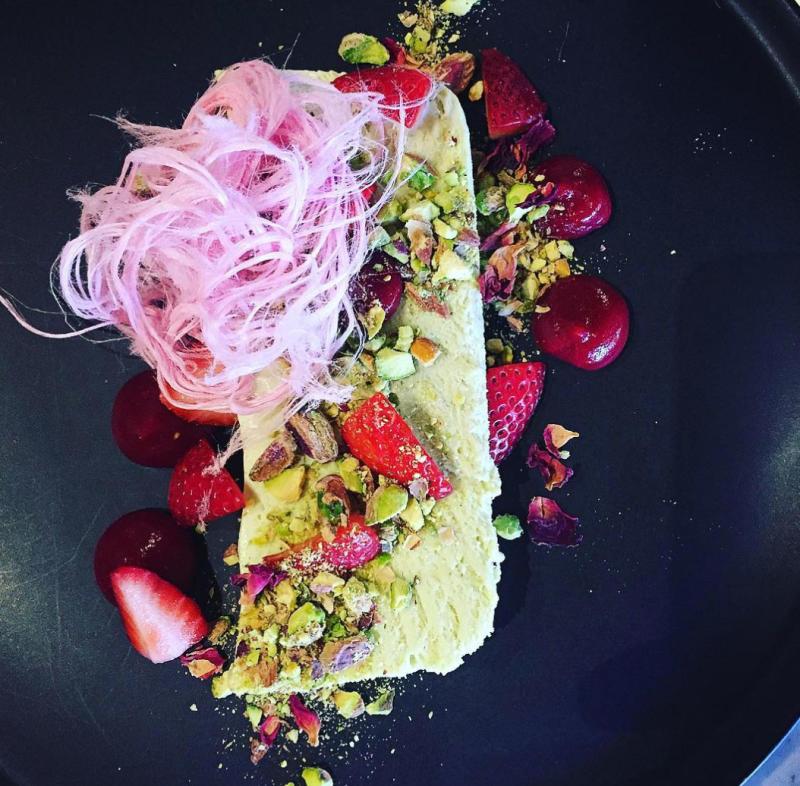 lemon cheesecake and strawberries dessert with fairy floss