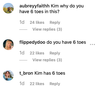 The star's Instagram comments were flooded with fans toe-based observations. Photo: Instagram/kimkardashian