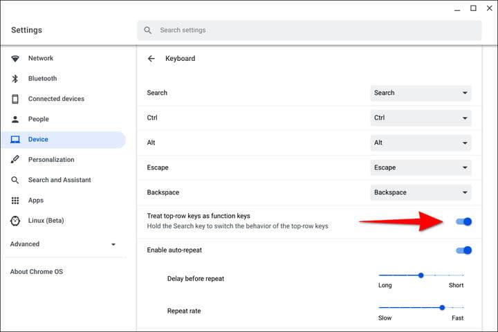 Chromebook Turn on Function Keys