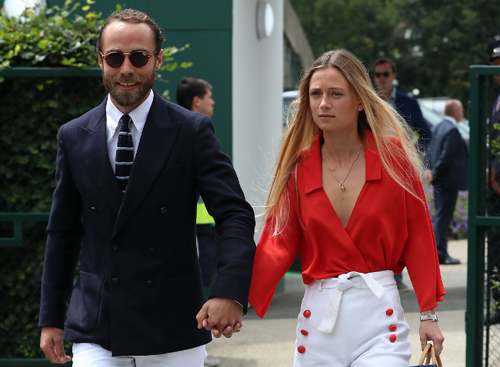 A photo of James Middleton and girlfriend Alizee Thevenet at Wimbledon.