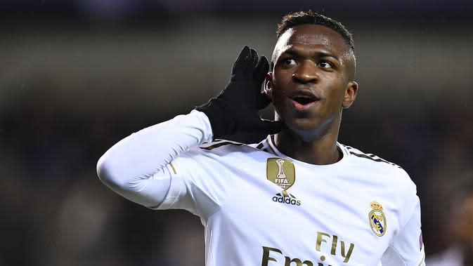 2. Vinicius Junior (Real Madrid) - Pemain berusia 19 tahun ini memiliki Kecepatan, teknik, keterampilan menggiring bola, kontrol bola yang mengesankan. Vinicius dipastikan akan menjadi bintang baru di Real Madrid. (AFP/John Thys)
