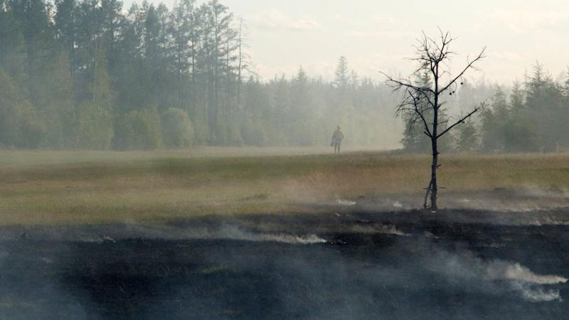 A forest fire in central Yakutia in Russia