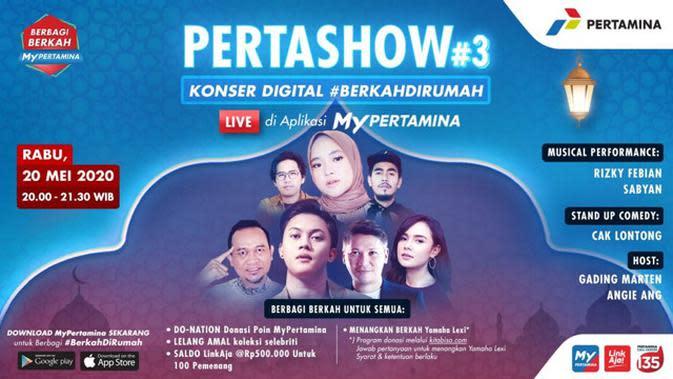 Pertamina menghadirkan PERTASHOW, konser digital #BerkahDiRumah yang live di aplikasi MyPertamina.