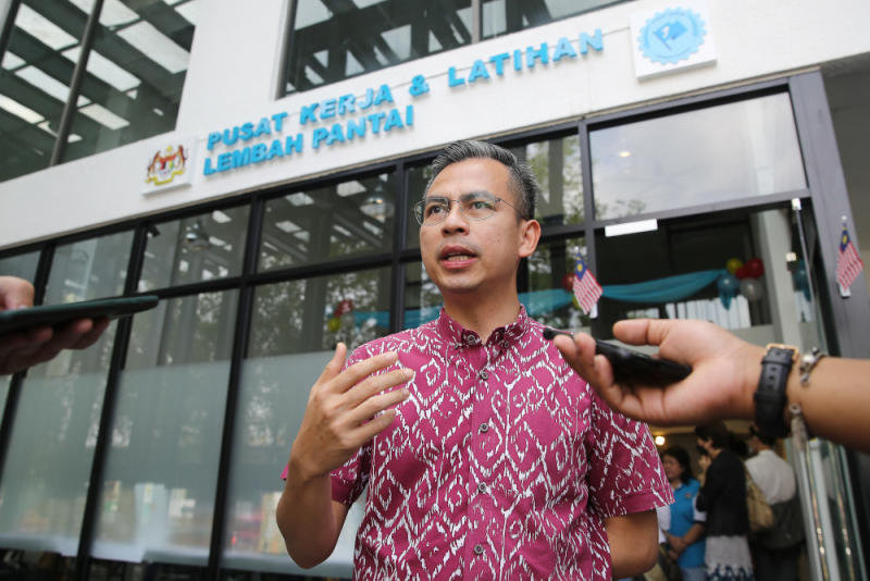 Lembah Pantai MP Fahmi Fadzil speaks to reporters after the launch of Lembah Pantai Work and Training Centre in Kuala Lumpur September 16, 2020. — Picture by Yusof Mat Isa