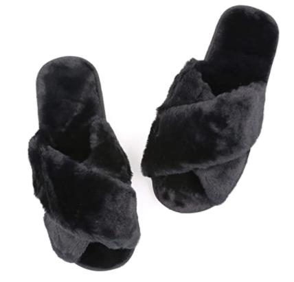 Topgalaxy.Z Fuzzy Slippers in black