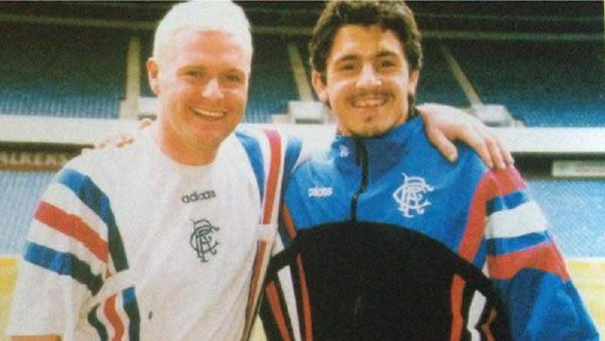 Paul Gascoigne dan Gennaro Gattuso. (Dok. Twitter/Rangers FC)
