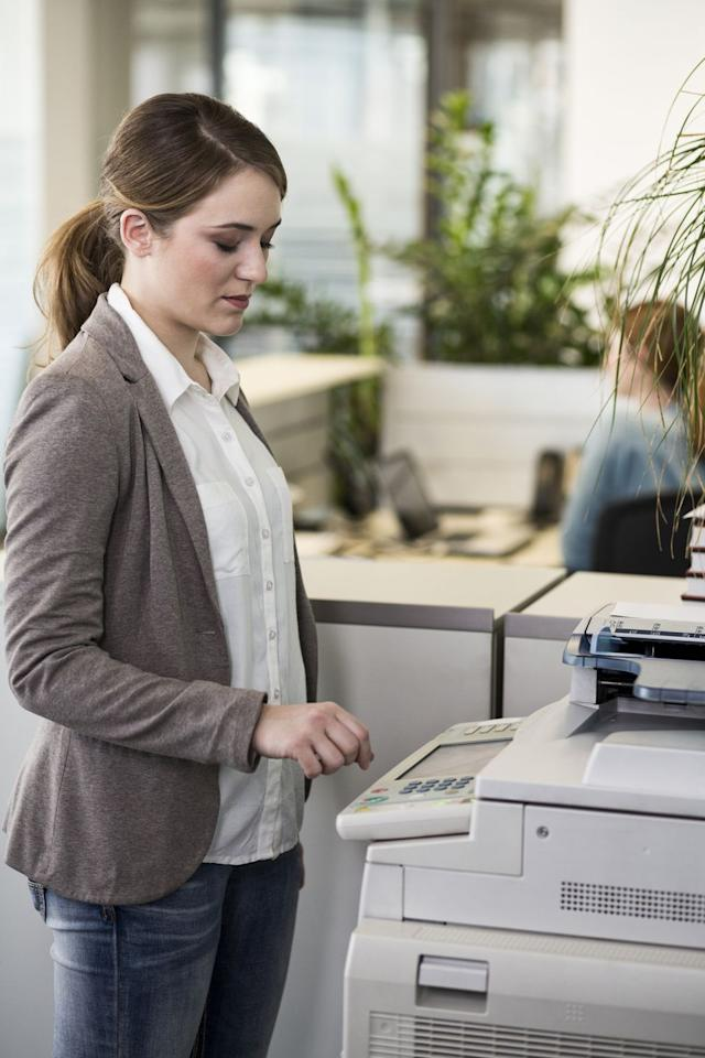 """<p>Leave a note on a key piece of office machinery — say, on a copy machine or the elevator button panel — indicating that the systems were recently upgraded and are now operable by voice command. Then amuse yourself as you watch (and listen) as co-workers futilely test out the """"new"""" technology.</p>"""