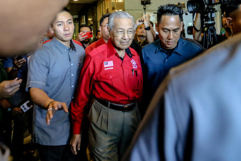 Bersatu chairman Tun Dr Mahathir Mohamad leaves PBBM headquarters in Petaling Jaya February 23, 2020. — Picture by Firdaus Latif