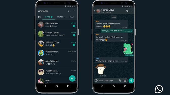 Tampilan dark mode di WhatsApp untuk Android (sumber: WhatsApp)