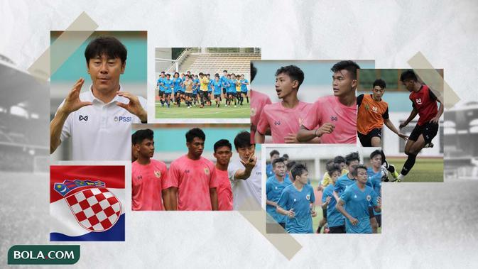 Kolase - Timnas Indonesia U-19, Shin Tae-yong, dan Bendera Kroasia (Bola.com/Adreanus Titus)