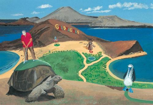 "This image released by Blue Rider Press shows an illustration from the book, ""This Land Was Made for You and Me (But Mostly Me): Billionaires in the Wild,"" by Bruce McCall and David Letterman. McCall, 78, depicts a wonderland of gracious living that is extravagantly large. (AP Photo/Blue Rider Press)"