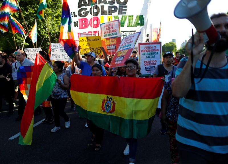 Supporters of Bolivia's ousted President Evo Morales gather outside the U.S. embassy in Buenos Aires to protest against the U.S. government, in Buenos Aires