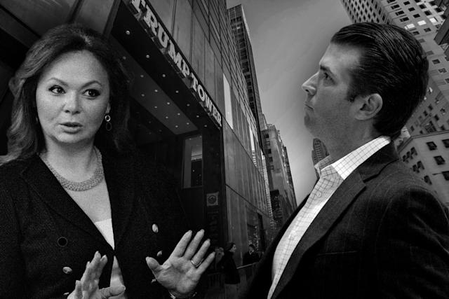 Natalia Veselnitskaya, Donald Trump Jr. (Yahoo News photo illustration, photos: Yury Martyanov/Kommersant Photo via AP, Vanessa Carvalho/Brazil Photo Press/LatinContent/Getty Images, Andrew Harnik/AP)