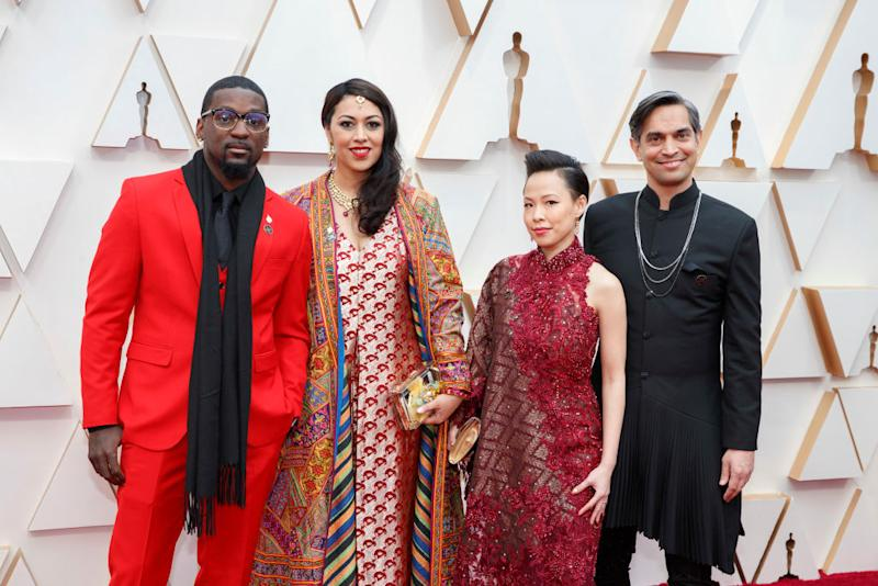 Actor Bruce Franks Jr., film director Smriti Mundhra, producer Poh Si Teng and director Sami Khan at Oscars 2020. (PHOTO: Rick Rowell/Getty Images)