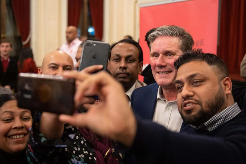 Labour leadership candidate Keir Starmer has his photo taken by supporters (PA)