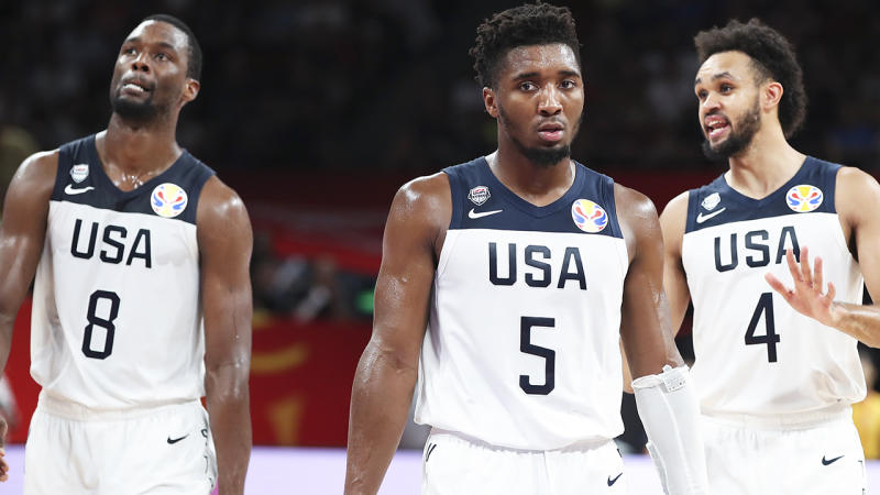 Harrison Barnes, Donovan Mitchell and Derrick White, pictured at the FIBA World Cup, weren't able to deliver Team USA a medal.