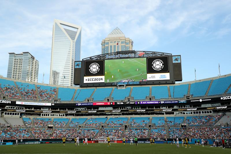 CHARLOTTE, NORTH CAROLINA - JULY 20: A general view of the field during the Fiorentina versus Arsenal match at the 2019 International Champions Cup at Bank of America Stadium on July 20, 2019 in Charlotte, North Carolina. (Photo by Streeter Lecka/International Champions Cup/Getty Images)