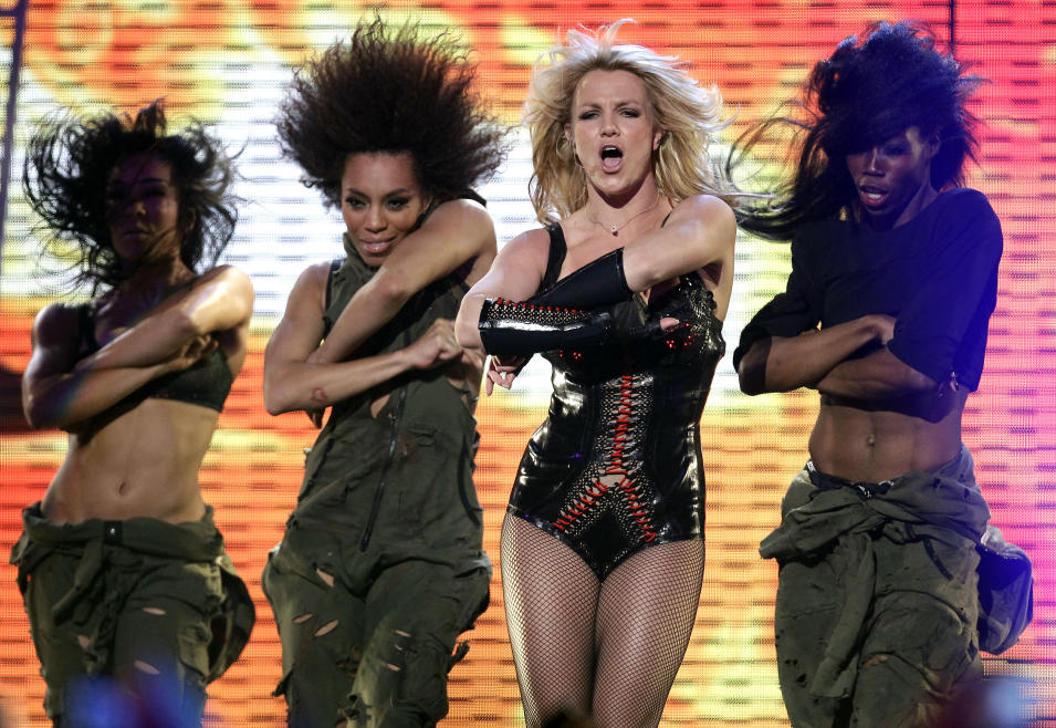 "Singer Britney Spears performs on ABC's ""Good Morning America"" show at the Bill Graham Civic Auditorium in San Francisco on Sunday, Mar. 27, 2011. (AP Photo/Tony Avelar)"