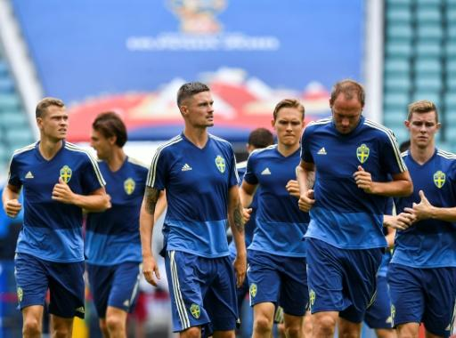 Swedish players attend a training session at the Fisht Olympic Stadium in Sochi on June 22, on the eve of their Russia 2018 World Cup Group F match against Germany