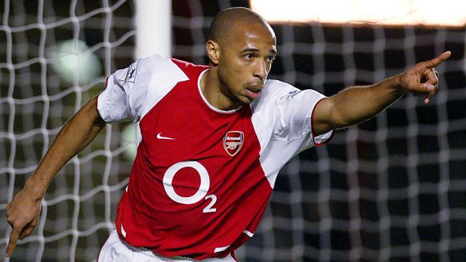 4. Thierry Henry (8 Hattrick) - Penyerang legendaris Arsenal Thierry Henry juga mencatatkan delapan hat-trick selama kariernya di kompetisi Premier League. (AFP/Odd Andersen)