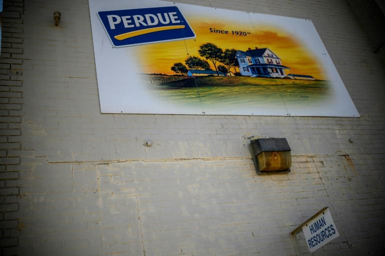 A sign for the entrance of the Human resources department on the parking lot outside the Perdue Farms Chicken and poultry processing factory in Salisbury, Maryland