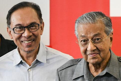 Mahathir Mohamad (right) and Anwar Ibrahim. File photo: AFP