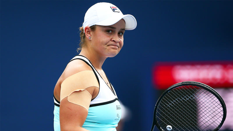 Ashleigh Barty of Australia reacts at the end of the first set against Sofia Kenin of the United States during a first round match on Day 4 of the Rogers Cup at Aviva Centre on August 06, 2019 in Toronto, Canada. (Photo by Vaughn Ridley/Getty Images)