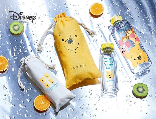 迪士尼微笑維尼耐熱玻璃瓶袋組