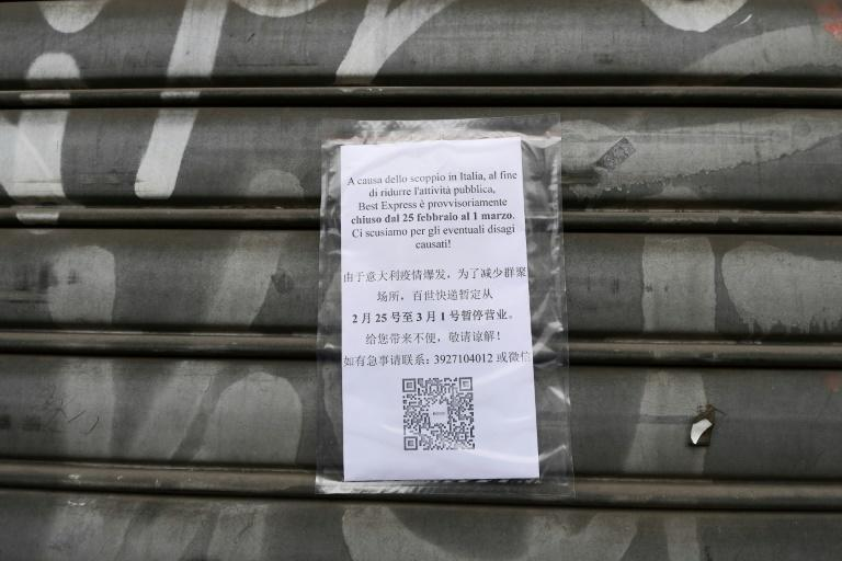A store in Milan's Chinatown announcing its closure over coronavirus fears