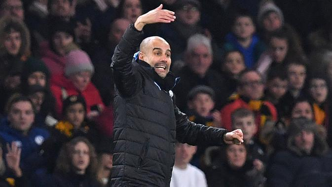 Pelatih Manchester City, Pep Guardiola. (AFP/Paul Ellis)