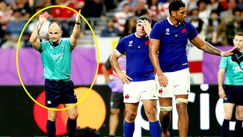 Referee Jaco Peyper, pictured here showing Sebastien Vahaamahina a red card at the Rugby World Cup.