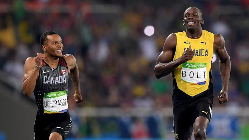 check out 56145 a6586 Andre de Grasse and Usain Bolt shared a moment with the world. Pic  Getty