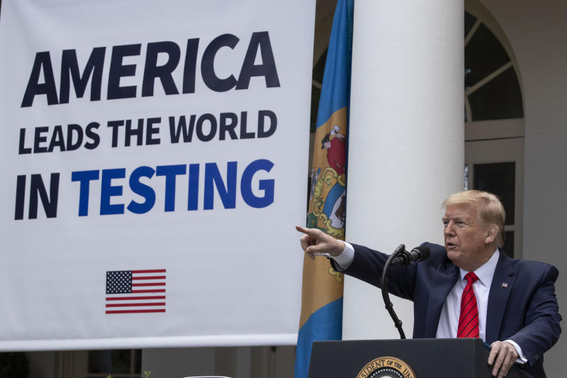 President Donald Trump points to a question as he speaks about the coronavirus during a press briefing in the Rose Garden of the White House, Monday, May 11, 2020, in Washington. (AP Photo/Alex Brandon)