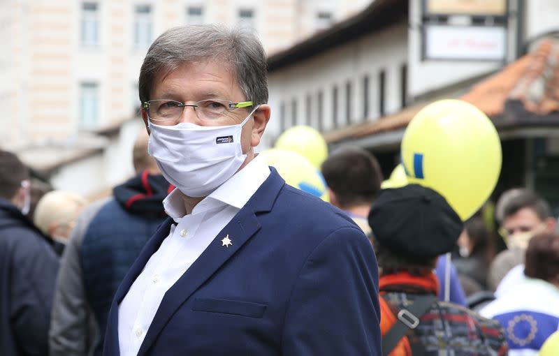Mirsad Hadzikadic, President of the Platform for Progress party, attends a protest against corruption and a delayed election in Sarajevo