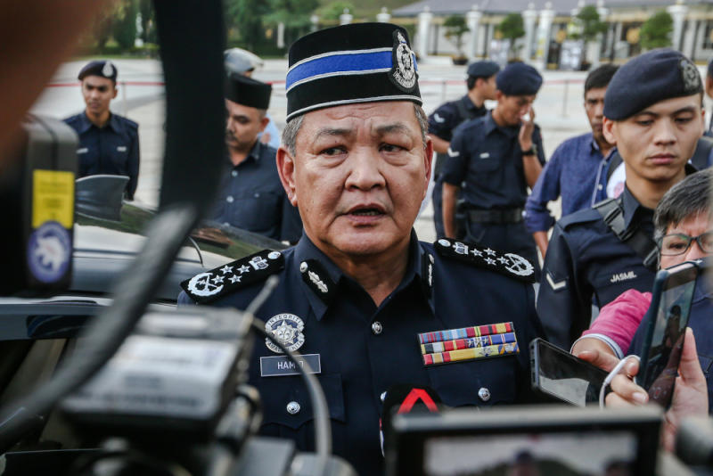 Inspector-General of Police Tan Sri Abdul Hamid Bador speaks to reporters at the Istana Negara February 24, 2020. — Picture by Firdaus Latif